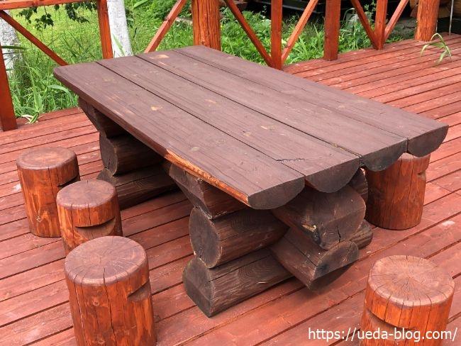 長沼 ハーベスト 休憩用のイスとテーブル
