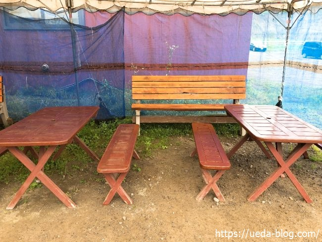 ウエムラ牧場 外で食事