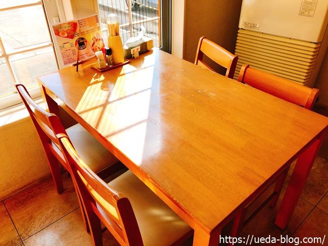 らーめんこうちは4人掛けテーブル席が2つ